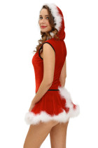 Plus Size Soft Fur Trim Costume rosso Santa Teddy and Skirt