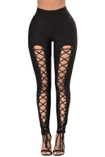 Svart Grommet Lace Up Front Leggings