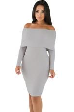 Grå Mini Knit Trøje Off Shoulder Dress