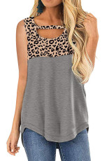 Hollow-out Leopard Solid Grey Patchwork Tank-topp