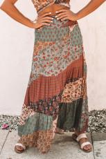 Multicolor Boho Print Tie-Up Waist Long Maxi skirt