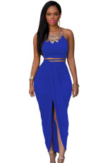 Royal Blue Bomull To Piece Maxi Skirt Set