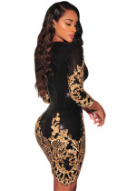 Černé viktoriánské zlaté švy 3 / 4 Sleeves Bodycon šaty