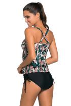 الظلام التمويه طباعة 2pcs Tankini ملابس السباحة