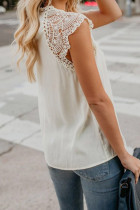 Hvit heklet blonder Trim Splitting Casual Bluse