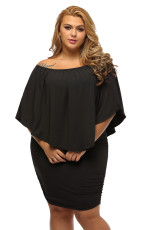Plus Ukuran Beberapa Dressing Layered Black Mini Poncho Dress