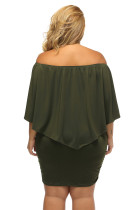 Plus Size Flere Dressing Layered Army Green Mini Poncho Dress