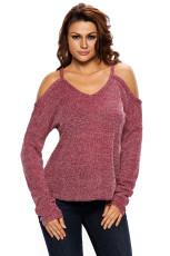 Burgundy Cold Shoulder Strik Lange ærmer Sweater
