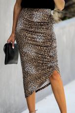 Bodycon Leopard Bide Slide Hemline Midi skirt