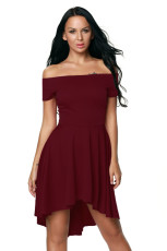 Burgundsko All The Rage Skater Dress