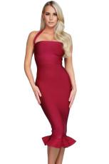 Anggur Halter Mermaid Midi Bodycon Dress Bandage dengan Flare