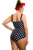 Черный Белый Polka Dot Plus размер One-Piece Swimsuit