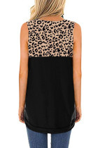 Hollow-out Leopard Solid Black chắp vá Tank Top