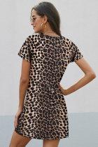 Kincê T-shirtê Leopard Print Sleeve Side Knot