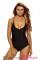Solid Black Cut out One Piece Swimwear