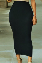 Solid Svart High-waisted Bodycon Maxi Skirt