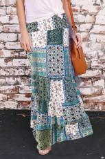 Green Boho Print Tie-Up Waist Long Maxi skirt