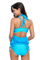 Syaani Sininen Striped Uimapuku Halter Beach Cover Top