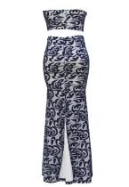 Blue Bandeau Paisley Print Nude podšívka sukně Set