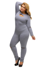 Cinza Plus Size Slit Long Sleeve Jumpsuit