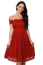 Vin Scalloped Off Shoulder Flared Lace Dress