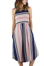 Roze blauwe gestreepte mouwloze midi-jurk