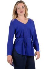 Navy Blue Lace Embellished Long Tail Plus Størrelse Top