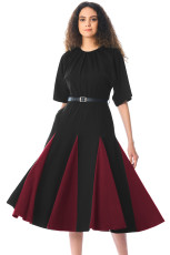 Siyah Bordo Godet Colorblock A-line Midi Elbise