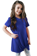 Royal Blue Twist Drape Ji bo Girls for Short