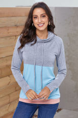 Grey Blue Colorblock Thumbhole Sleeved Sweatshirt