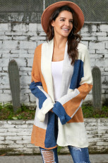 Khaki Blue Multi Colorblock Åpne foran cardigan