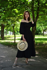 Black Off Shoulder Puff Sleeve Button Front Vintage Dress