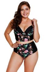 Λεπτό Floral Push Up Υψηλή μέση Bikini Μαγιό
