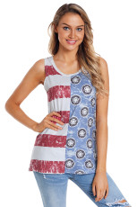 Trendy Flag Pattern Patchwork Casual Tank Top