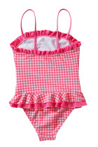 Ruffle Trim Red Plaid Little Girls Badedragt