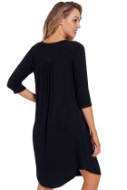 Black Dress Sleeve Casual rochie de tunica