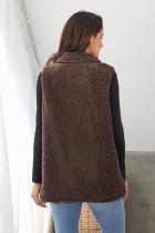 Painike Detail Brown Lambswool Vest Jacket