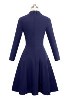 Indigo Double Breasted Vintage Flared Dress