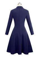 Индиго Двойное Брестованное Урожайное Раскрашенное Платье
