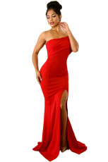 Red Off Shoulder One Sleeve Slit Maxi Party Prom Dress