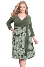 Grønn Plus Size 3 / 4 Sleeve Contrast Print Dress
