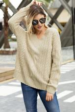 Sweater Rajut V Neck Sweater Khaki