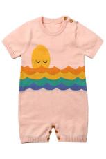 Pink Adorable Shy Sun Pola Rajutan T-shirt Baju Monyet Bayi