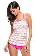 Красочный Polka Dot Розовый 2pcs Tankini Swimsuit