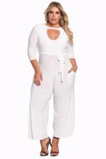Hvid Plus Størrelse Udskåret Wide Legged Jumpsuit