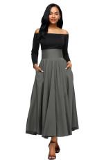 Abu-abu Retro Tinggi Pinggang Lipit Belted Maxi Skirt