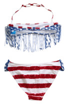 Fringed American Flag Bikini Badedrakt for jenter