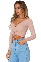 Pink Cinched Lace Up Long Sleeve Crop Top