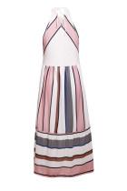 Aprikoosi raidallinen Bohemian Fashion Midi-mekko