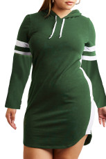 Army Green Varsity Striped Plus Size Sweatshirt Dress